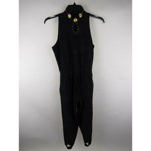 Caché Studded Pleated Pockets Foot Loop Jumpsuit